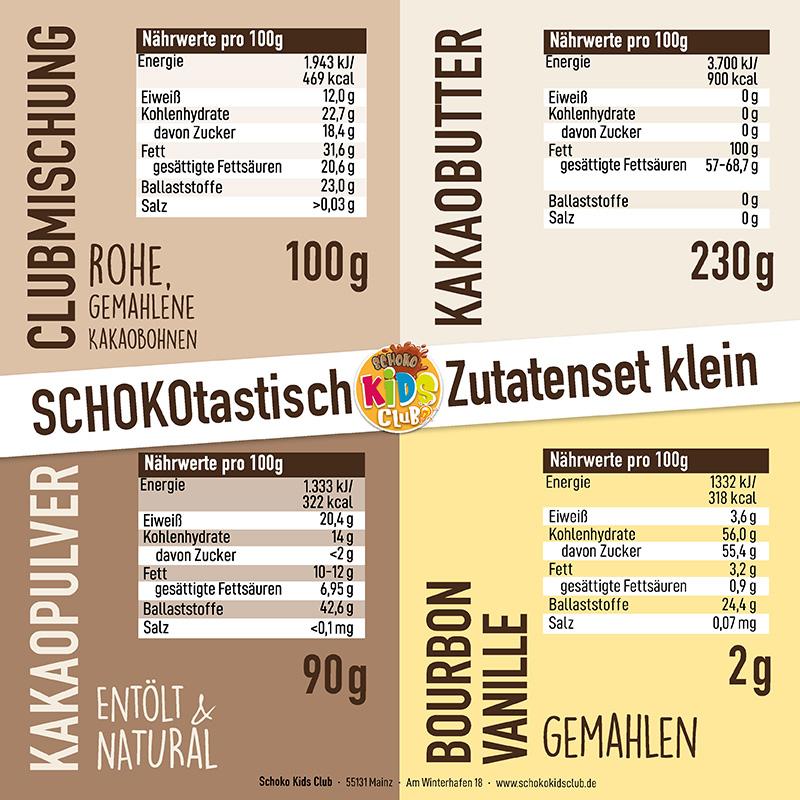 Nährstoffe Zutatenset klein Schoko Kids Club