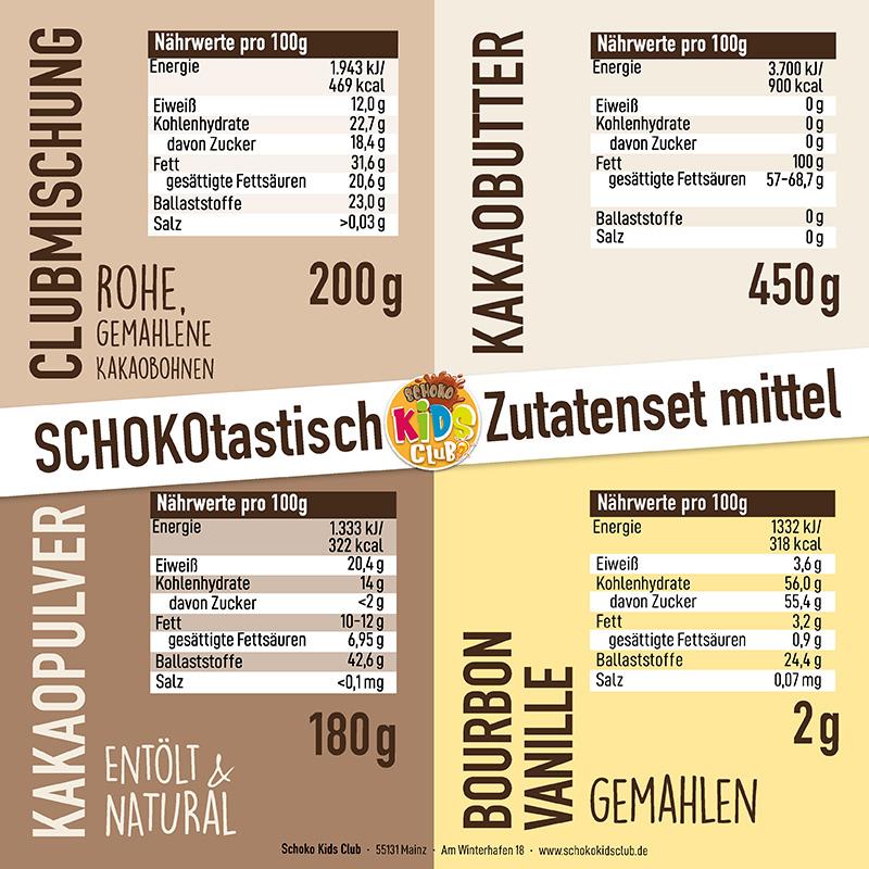 Nährstoffe Zutatenset Mittel Schoko Kids Club